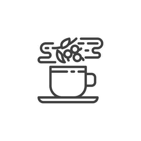 Herbal hot tea line icon. Healthy fruit drink linear style sign for mobile concept and web design. Tea cup with berry and leaves outline vector icon. Symbol illustration. Vector graphics