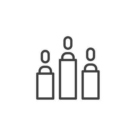 Business conference line icon. linear style sign for mobile concept and web design. Team group people on speech podium outline vector icon. Symbol illustration. Vector graphics