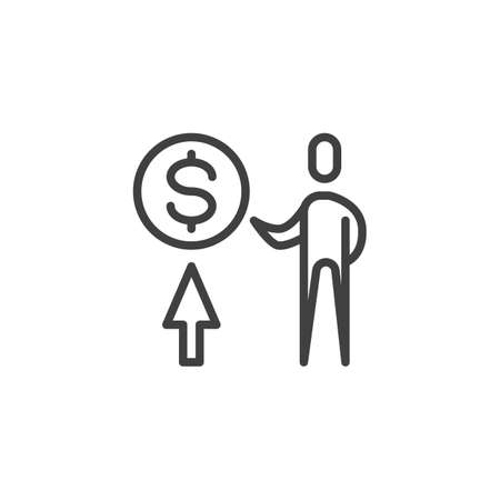 Business analyst line icon. linear style sign for mobile concept and web design. Dollar people stock market outline vector icon. Symbol illustration. Vector graphics
