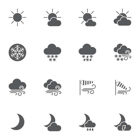 Weather vector icons set, modern solid symbol collection, filled style pictogram pack. Signs illustration. Set includes icons as meteorology, windsock, wind blow, sunny and cloudy, rainy night Illustration