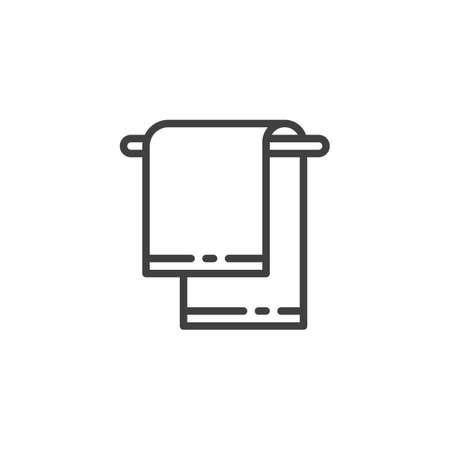 Icono de línea de toalla de mano. signo de estilo lineal para concepto móvil y diseño web. Icono de vector de contorno de toalla colgante. Ilustración de símbolo. Gráficos vectoriales