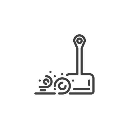 Scoop and dust line icon. Dustpan linear style sign for mobile concept and web design. Cleaning scoop outline vector icon. Symbol illustration. Vector graphics