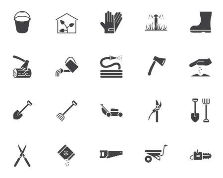 Gardening tool vector icons set, modern solid symbol collection, filled style pictogram pack. Signs illustration. Set includes icons as greenhouse, watering, seedling, rack shovel, lawn mower