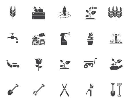 Gardening vector icons set, modern solid symbol collection, filled style pictogram pack. Signs illustration. Set includes icons as spike of wheat, watering sprinkler, field, vegetable , seedling