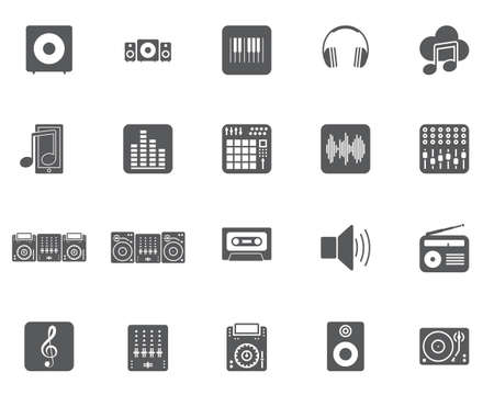 Dj Music Vector Icons Set, Modern Solid Symbol Collection, Filled
