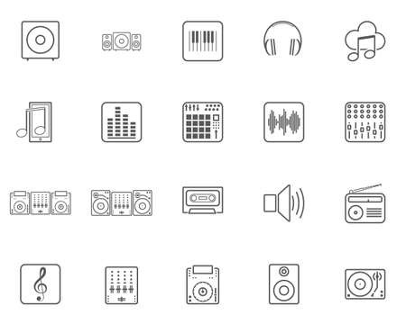 Dj music line icons set. linear style symbols collection, outline signs pack. vector graphics. Set includes icons as sound speaker, mixer, vinyl, musical note, equalizer, headphones, electric keyboard