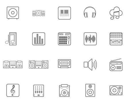 DJ-Musiklinie Icons Set. Sammlung von Symbolen im linearen Stil, Packung mit Umrisszeichen. Vektorgrafiken. Das Set enthält Symbole wie Soundlautsprecher, Mixer, Vinyl, Musiknote, Equalizer, Kopfhörer, elektrische Tastatur Vektorgrafik