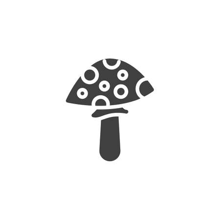 Fly amanita vector icon. Fungus filled flat sign for mobile concept and web design. Mushroom glyph icon. Symbol illustration. Vector graphics Çizim