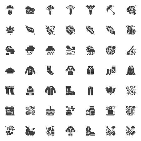 Autumn season vector icons set, modern solid symbol collection, filled style pictogram pack. Signs illustration. Set includes icons as Mushroom, leaf, rain, clouds, wind, coat, boot, umbrella Vettoriali