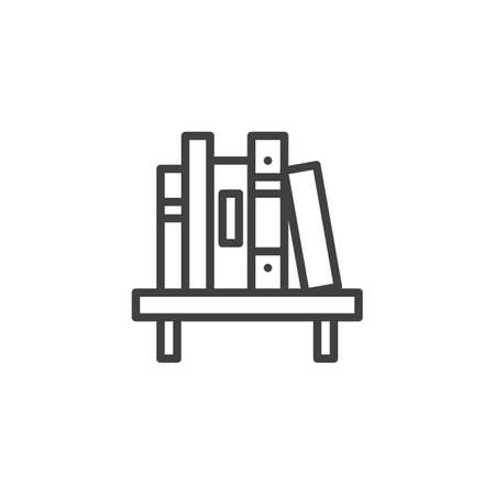 Shelf with book line icon. linear style sign for mobile concept and web design. Bookshelf with stacked books outline vector icon. Symbol illustration. Vector graphics
