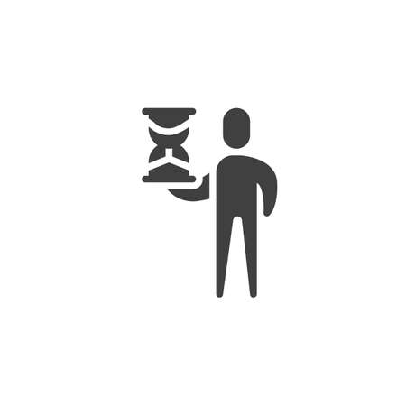 Man with hourglass vector icon. filled flat sign for mobile concept and web design. Human with sand clock glyph icon. Time management symbol illustration. Vector graphics Vectores