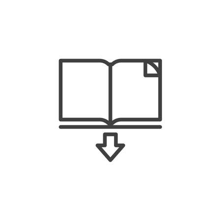 Scarica l'icona della linea del libro. segno di stile lineare per il concetto mobile e il web design. Apri l'ebook e l'icona di vettore di contorno freccia giù. Illustrazione del simbolo. Grafica vettoriale