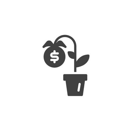 Money plant vector icon. Dollar flower filled flat sign for mobile concept and web design. Money growth glyph icon Ilustração