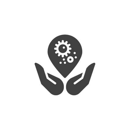Hands hygiene vector icon. filled flat sign for mobile concept and web design. Hands hold bacteria water drop glyph icon Standard-Bild - 128681167