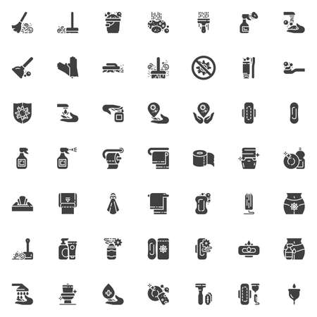 Hygiene vector icons set, modern solid symbol collection, filled style pictogram pack. Signs, illustration. Set includes icons as Feminine hygiene, cleaning, Broom dust, Hand washing, Detergent Vectores