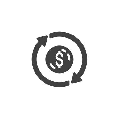 Money convert vector icon. Coin and arrows filled flat sign for mobile concept and web design. Dollar money exchange glyph icon. Symbol, illustration. Vector graphics