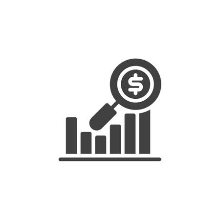 Financial analysis vector icon. filled flat sign for mobile concept and web design. Graph with dollar and magnifying glass glyph icon