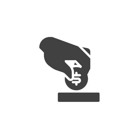 Hand putting coin vector icon. Insert dollar coin filled flat sign for mobile concept and web design. Deposit amount glyph icon