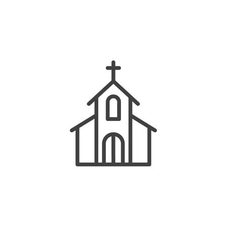 Church with holy cross line icon. linear style sign for mobile concept and web design. Church building outline vector icon. Symbol, illustration. Vector graphics