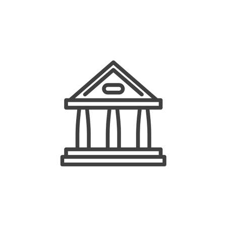 Court building line icon. linear style sign for mobile concept and web design. Courthouse, building with columns outline vector icon. Symbol, illustration. Vector graphics