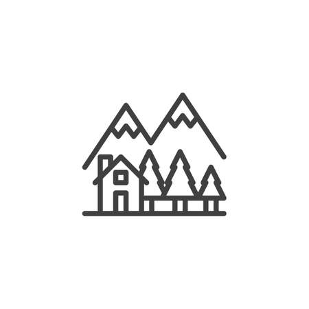 Country house in the forest line icon. linear style sign for mobile concept and web design. Cottage home with trees and mountains outline vector icon. Symbol, illustration. Vector graphics Çizim