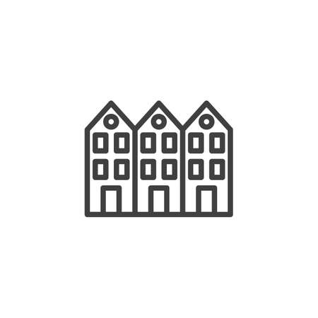 Neighborhood house line icon. linear style sign for mobile concept and web design. Three house buildings outline vector icon. Symbol, illustration. Vector graphics