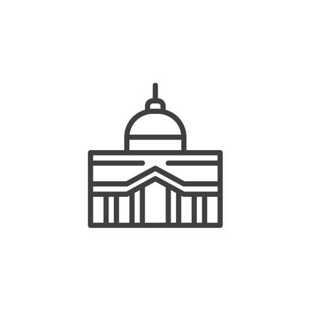 Capitol building line icon. linear style sign for mobile concept and web design. City hall building outline vector icon. Symbol, illustration. Vector graphics