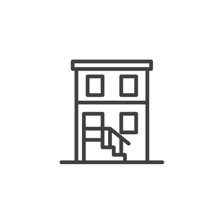 Two story building line icon. linear style sign for mobile concept and web design. House with steps outline vector icon. Symbol, illustration. Vector graphics Illusztráció