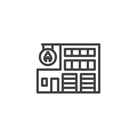 Fire station building line icon. linear style sign for mobile concept and web design. Fire department outline vector icon. Symbol, illustration. Vector graphics 일러스트