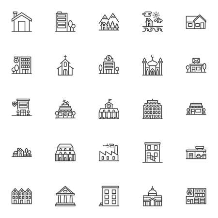 Buildings line icons set. linear style symbols collection, outline signs pack. vector graphics. Set includes icons as home, house, fire station building, police department, post office, mosque, church Vektorové ilustrace