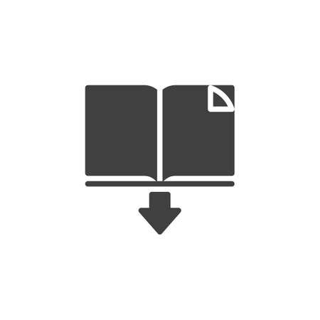 Buch-Vektor-Symbol herunterladen. gefülltes flaches Schild für mobiles Konzept und Webdesign. E-Book öffnen und Glyphensymbol mit Pfeil nach unten Vektorgrafik