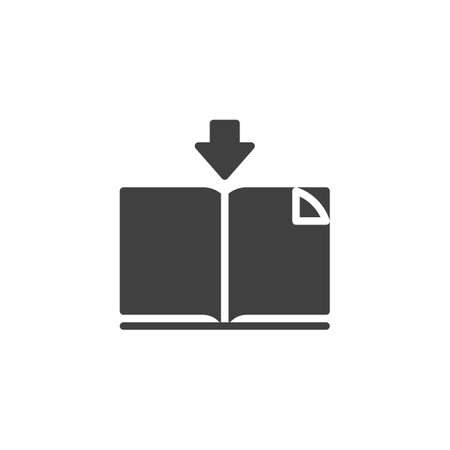 Open ebook and arrow down vector icon. filled flat sign for mobile concept and web design. Download ebook glyph icon. e learnig symbol