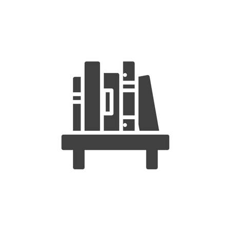 Shelf with book vector icon. filled flat sign for mobile concept and web design. Bookshelf with stacked books glyph icon