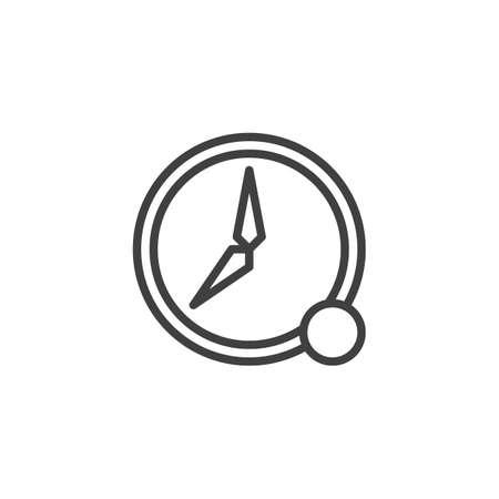 Time notification line icon. linear style sign for mobile concept and web design. Clock with notice outline vector icon