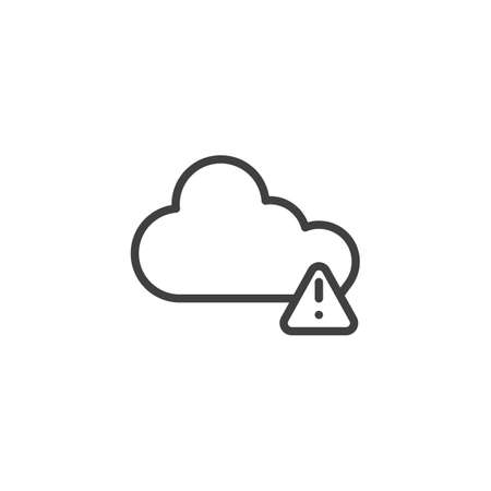 Cloud Alert notification line icon. linear style sign for mobile concept and web design. Cloud storage warning notice outline vector icon