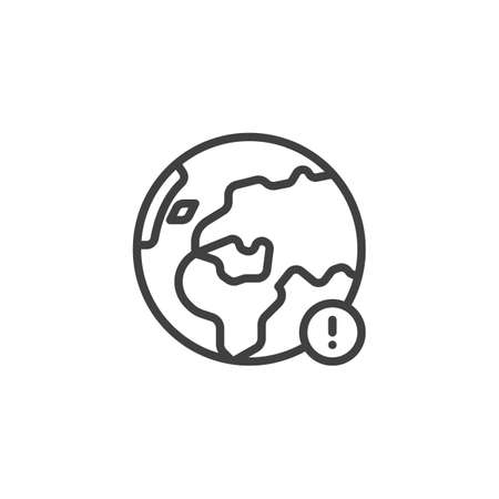 Earth globe notice line icon. linear style sign for mobile concept and web design. earth planet notification outline vector icon