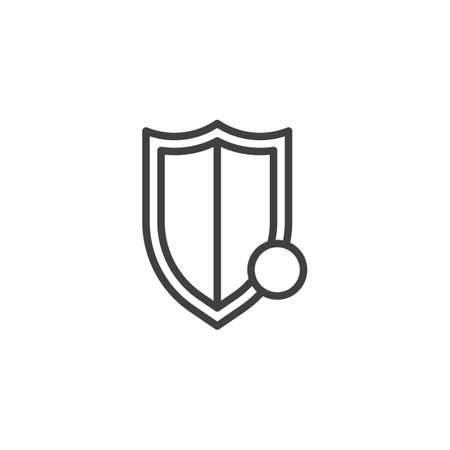 Shield protection notification line icon. linear style sign for mobile concept and web design. Safety shield notice outline vector icon Çizim