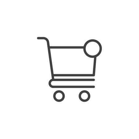 Shopping cart notification line icon. linear style sign for mobile concept and web design. Purchase notice outline vector icon
