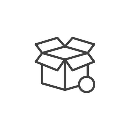 Open box notification line icon. linear style sign for mobile concept and web design. open cardboard box notice outline vector icon
