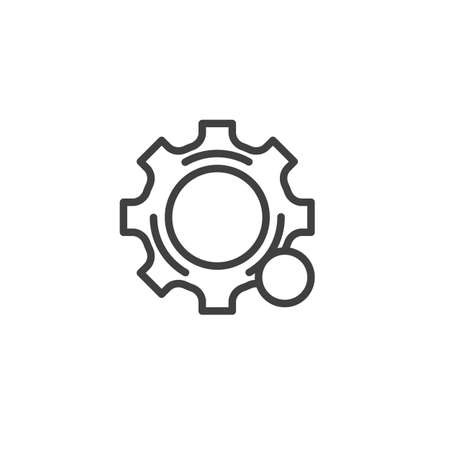 Settings notification line icon. linear style sign for mobile concept and web design. Gear notice outline vector icon Çizim
