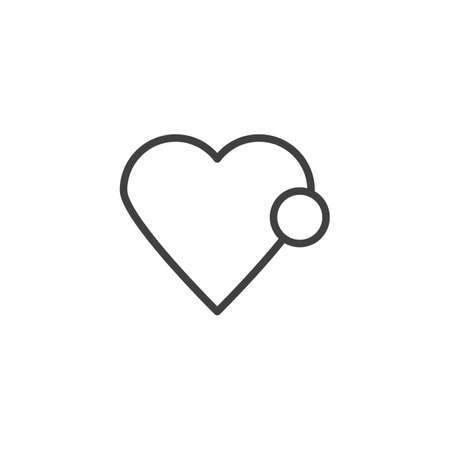 Heart like notification line icon. linear style sign for mobile concept and web design. love notice outline vector icon