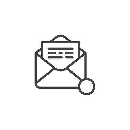 Receive email notification line icon. linear style sign for mobile concept and web design. Open envelope mail notice outline vector icon