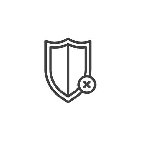 Reject protection notice line icon. linear style sign for mobile concept and web design. Decline shield notification outline vector icon Ilustração