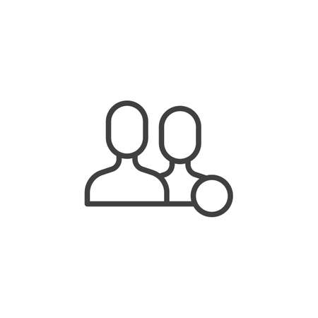 Friend notification line icon. linear style sign for mobile concept and web design. Friend request notice outline vector icon