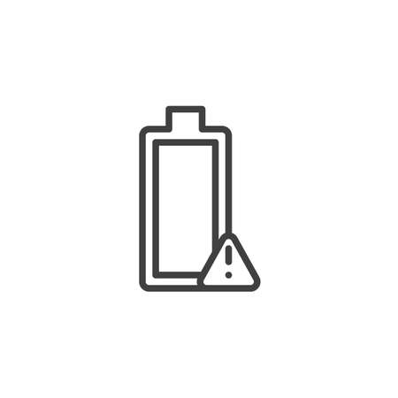 Low Battery Alert notification line icon. linear style sign for mobile concept and web design. Battery with exclamation mark outline vector icon