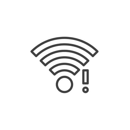 wifi signal notification line icon. linear style sign for mobile concept and web design. wireless network notice outline vector icon Çizim