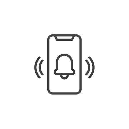 Ringing smartphone line icon. linear style sign for mobile concept and web design. Mobile phone ringing, vibrating outline vector icon