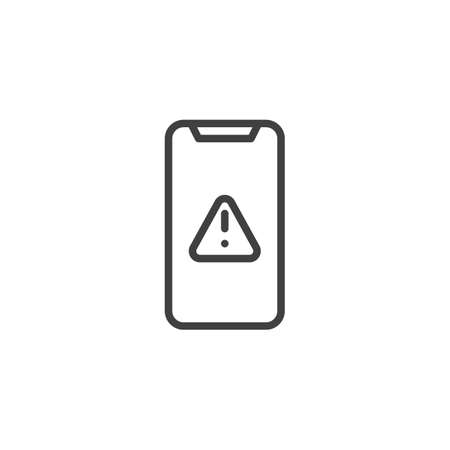 Mobile phone warning alert, attention line icon. linear style sign for mobile concept and web design. Smartphone with exclamation point outline vector icon