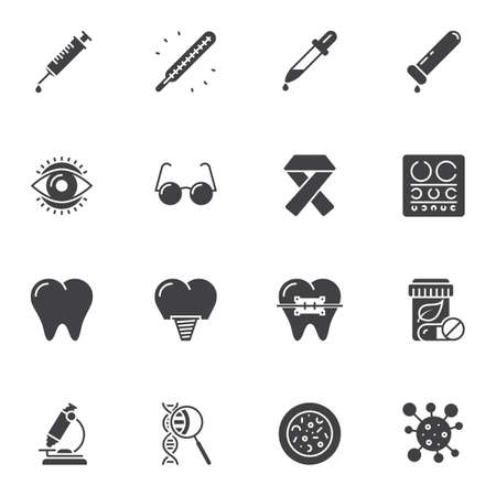 Medical universal vector icons set, modern solid symbol collection, filled style pictogram pack. Signs, illustration. Set includes icons as syringe injection, dental implant, molecule, microscope