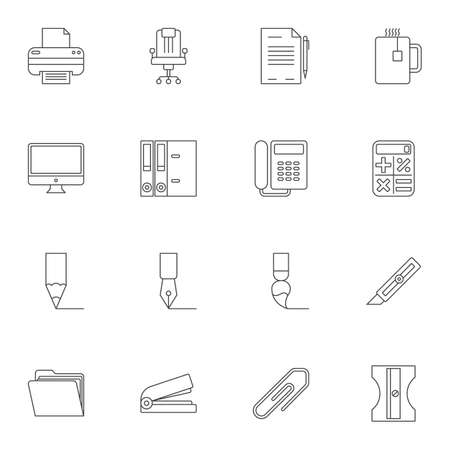 Office supplies line icons set. linear style symbols collection outline signs pack. vector graphics. Set includes icons as printer, chair, telephone fax, document folder, fountain pen, computer, knife